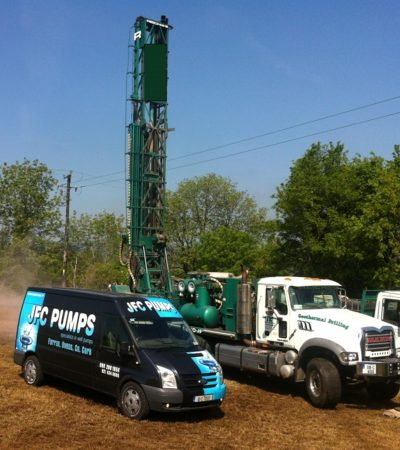 Well Drilling Rig and Van